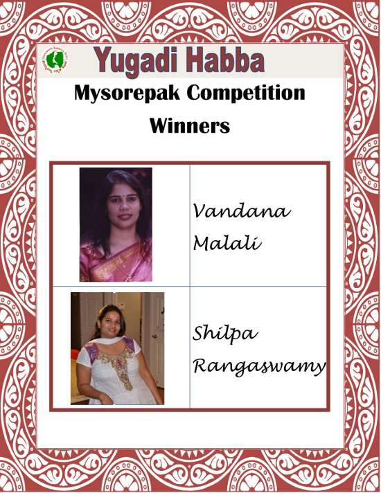 Mysore Pak Competition Winners
